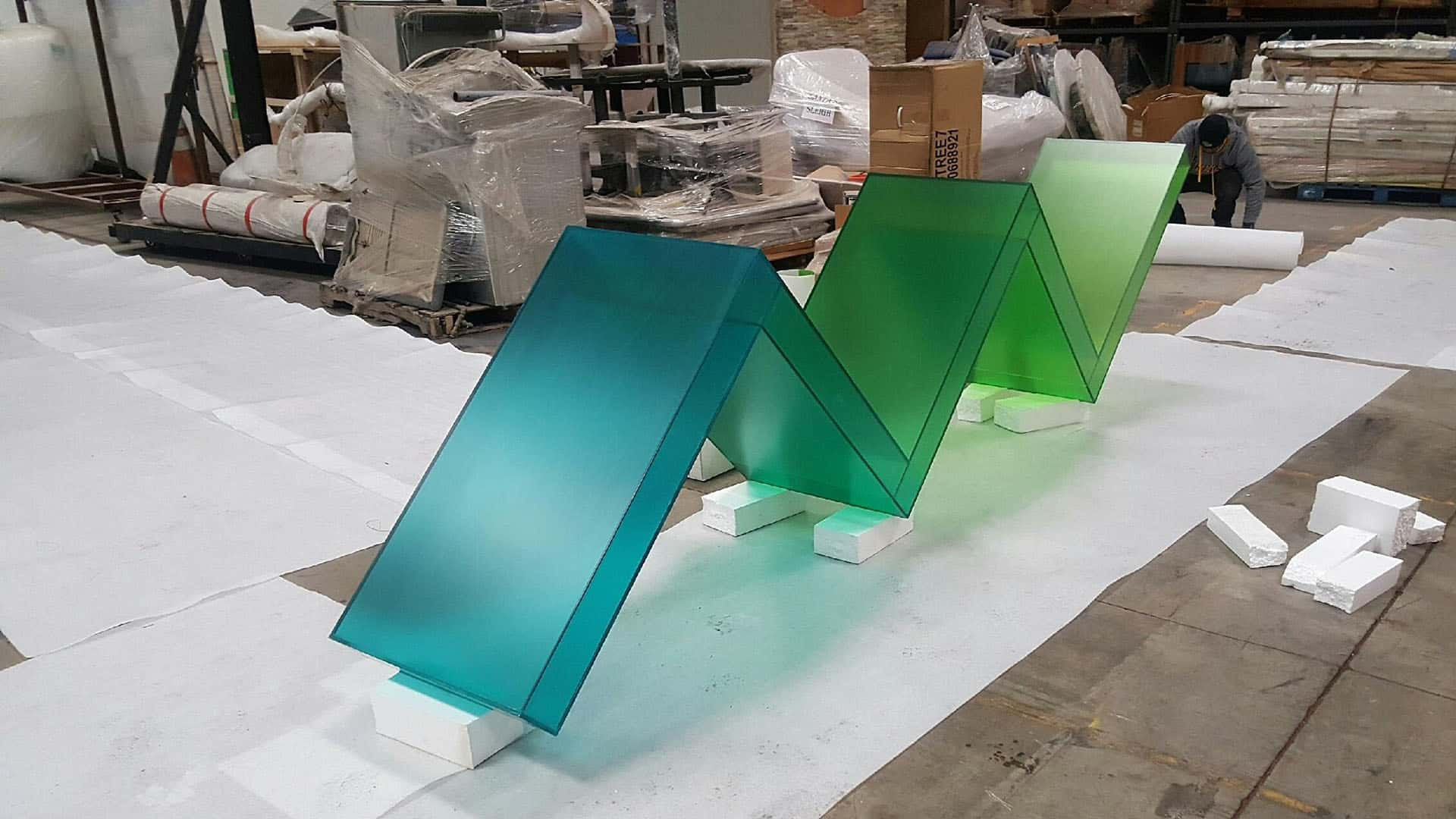 Photo of Brighthouse Zig Zag Acrylic Fabrication being unwrapped