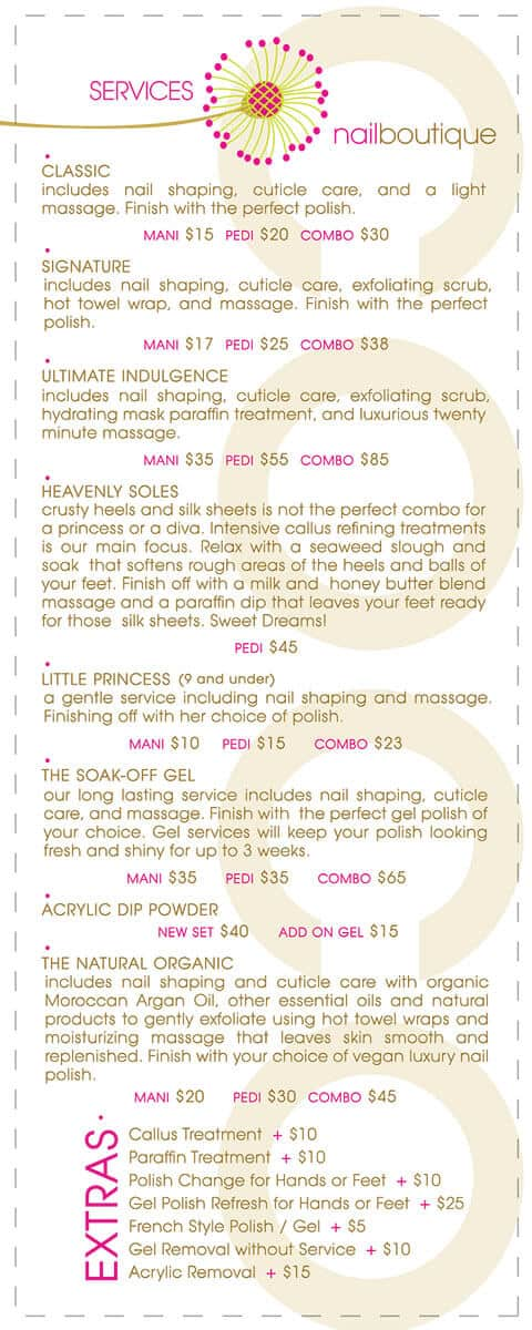 COCO nailboutique services card design back side by DIG53