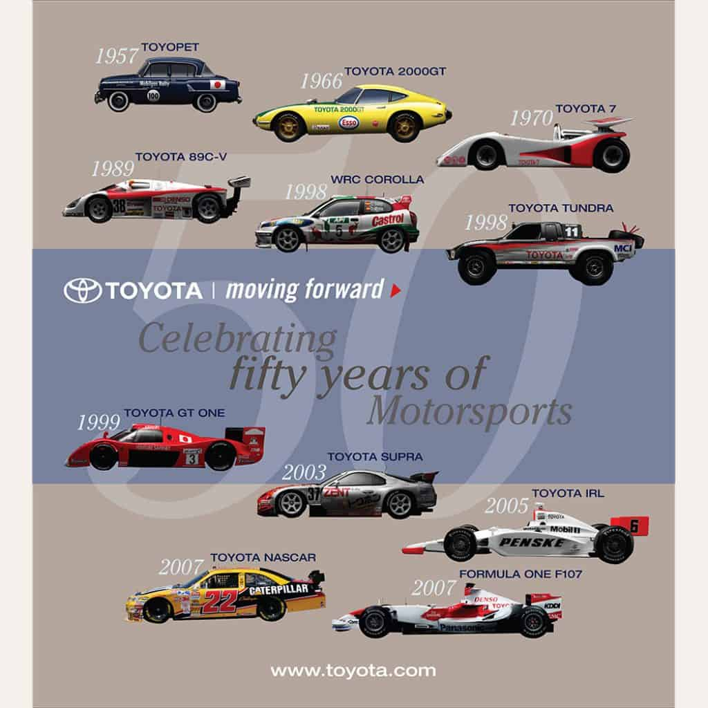 DIG53 design for 50' Featured Race Car Graphic for Toyota's 50th Anniversary