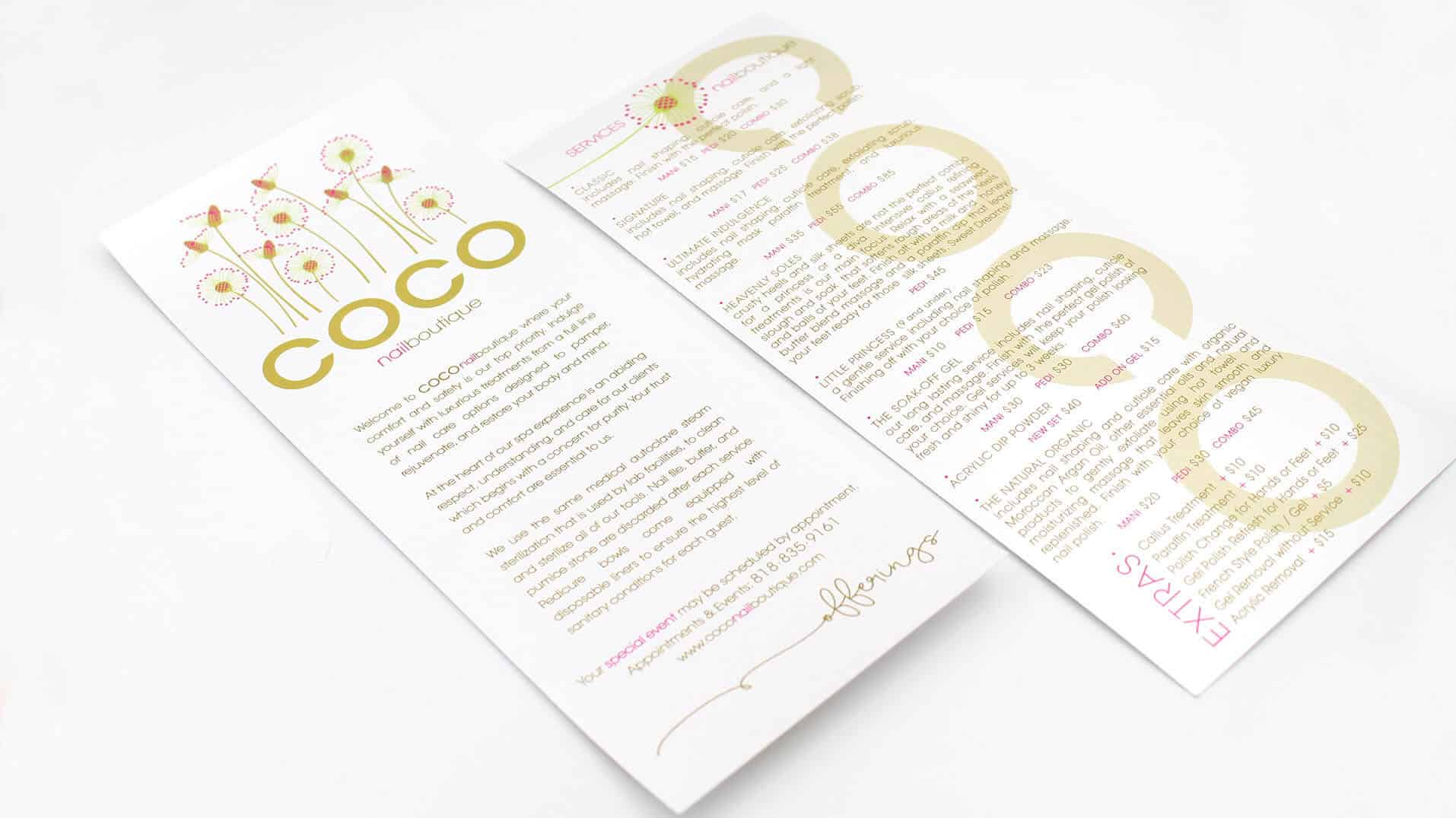 Photo of Coco nailboutique services menu designed by DIG53.