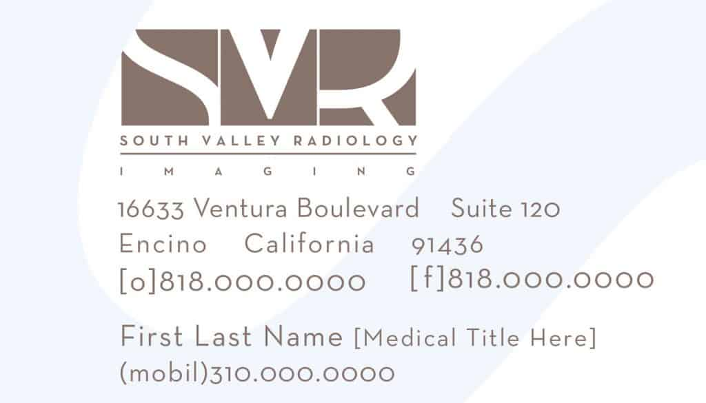 South Valley Radiology Business Card designed by DIG53