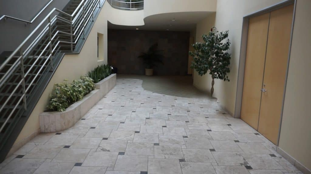 Canwood Lobby interior before redesign view to office entrance